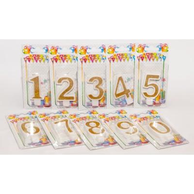 Цифра в торт от 0 до 9 золото