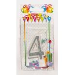 Цифра в торт от 0 до 9 серебро